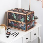 (NN73) Large Jungle Print Makeup Case Beautiful jungle design and soft velvet lining Large 3 ...