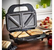 (X38) Sandwich & Waffle Maker. Large, deep removable plates & Non-stick coating for easy food r...