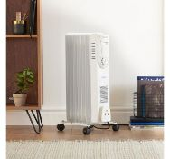 (K32) 7 Fin 1500W Oil Filled Radiator - White Equipped with 3 heat settings (600W/900W/1500W) ...