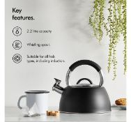 (K28) Stainless Steel Stove Top Kettle Satin black body and sparkling stainless steel details ...