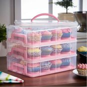 (NN49) 3 Tier Cupcake Carrier Pink The stylish way to store your cakes and cupcakes Rotatable...