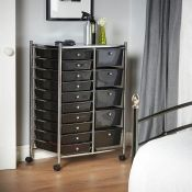 (S92) Black 15 Drawer Trolley Multi-purpose 15 drawer storage trolley Perfect for homes, off...