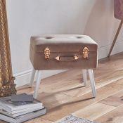 (V45) Pearl Velvet Storage Stool This plush velvet pink and rose gold stool with white MDF leg...