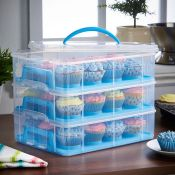 (NN32) 3 Tier Cupcake Carrier Blue Three Tier Cupcake Storage Container. Each layer holds 12 ...