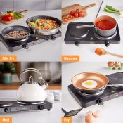 (V91) Double Hot Plate Small, lightweight and easily portable, use the hot plate for cooking i...