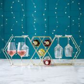 (S60) Wine Bottle Rack & Glass Holder Store up to 5 bottles and 8 wine glasses Made from stai...