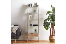 (S20) White & Oak Bookcase Charming light oak-effect accents add to the appeal 5-tier shelving ...
