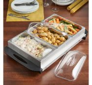 (X20) 300W 3 Pan Buffet Server. Remove the 3 large 2.5L serving pans and use the metal base as ...