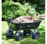 (X48) 75ltr Garden Dump Trolley Cart. Ideal for transporting and unloading plants, soil, mulch,...