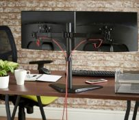 "(X43) Dual Arm Desk Mount with Stand. Mount two screens side by side - holds two 13-32"" telev..."