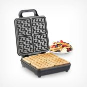 (V121) Quad Waffle Maker Whip up four delicious waffles at once with the VonShef 1100W Quad Be...