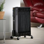 (NN94) 9 Fin 2000W Oil Filled Radiator - Black Powerful 2000W radiator with 9 oil-filled fins ...