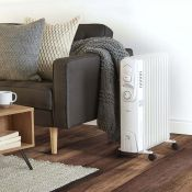 (V62) 11 Fin 2500W Oil Filled Radiator - White Suitable for areas up to 28 square metres 3 po...