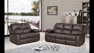 BRAND NEW BOXED 3 SEATER PLUS 2 SEATER SUPREME LEATHER RECLINING SOFAS IN BROWN