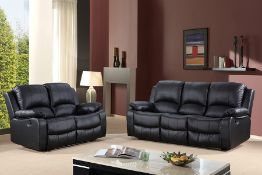 BRAND NEW BOXED SUPREME 3 SEATER PLUS 2 SEATER LEATHER RECLINING SOFAS IN BLACK