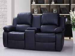 BRAND NEW BOXED 2 SEATER SUPREME RECLINING SOFA WITH CONSOLE AND DRINKS HOLDERS