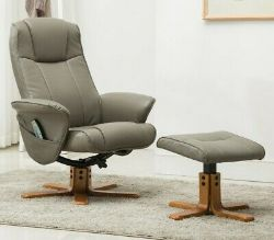BRAND NEW BOXED GFA STRESS LESS MILANO RECLINING SWIVEL CHAIR WITH HEAT AND MASSAGE IN GREY PU