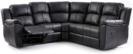 BRAND NEW BOXED SUPREME BLACK LEATHER RECLINING CORNER SOFA
