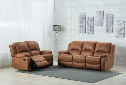 BRAND NEW BOXED 3 SEATER PLUS 2 SEATER TEXAS RECLINING SOFAS IN TAN FABRIC