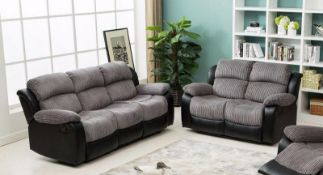 BRAND NEW BOXED CALIFORNIA 3 SEATER PLUS 2 SEATER IN BLACK/GREY RECLINING SOFAS