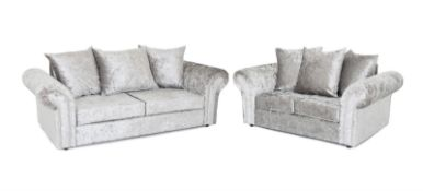 Brand new 3 seater plus 2 seater verona crushed velvet silver sofas