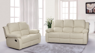 BRAND NEW BOXED SUPREME 3 SEATER PLUS 2 SEATER LEATHER RECLINING SOFAS IN CREAM