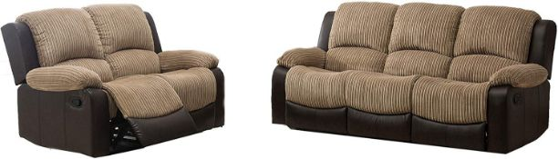 BRAND NEW BOXED CALIFORNIA 3 SEATER PLUS 2 SEATER RECLINING SOFAS IN BROWN/MOCCHA