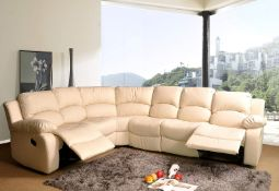 BRAND NEW BOXED SUPREME LEATHER RECLINING CORNER SOFA IN CREAM