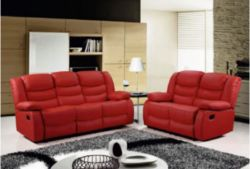 BRAND NEW BOXED 3 SEATER PLUS 2 SEATER ROMAN RECLINING SOFAS IN RED