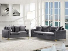 BRAND NEW BOXED 3 SEATER PLUS 2 SEATER ICON SOFAS IN PLUSH GREY VELVET