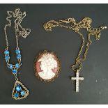 Costume Jewellery Blue Stone Pendant Cameo and Cross