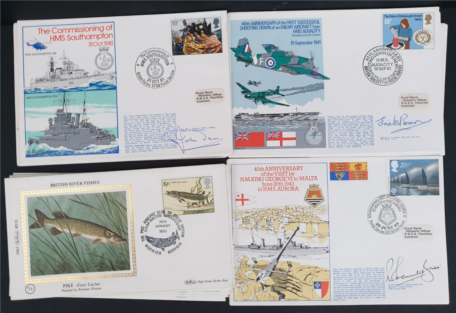 20 x Collectable Vintage First Day Covers Military & Fish 1982/83
