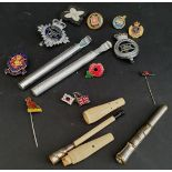 Dunhill Cigarette Holder Pipe Cleaner and Assorted Badges