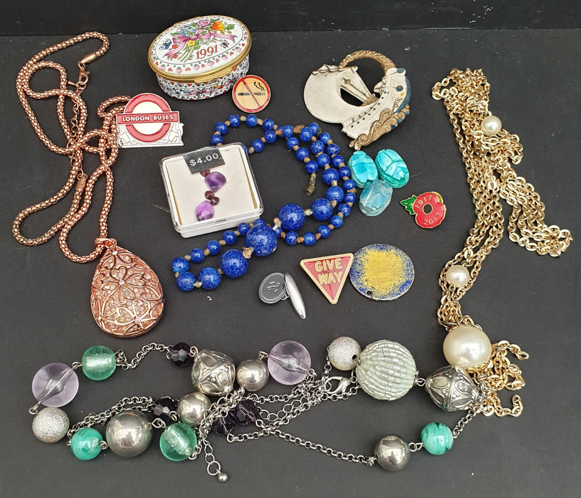 Parcel of Assorted Costume Jewellery Enamelled Box & Badges