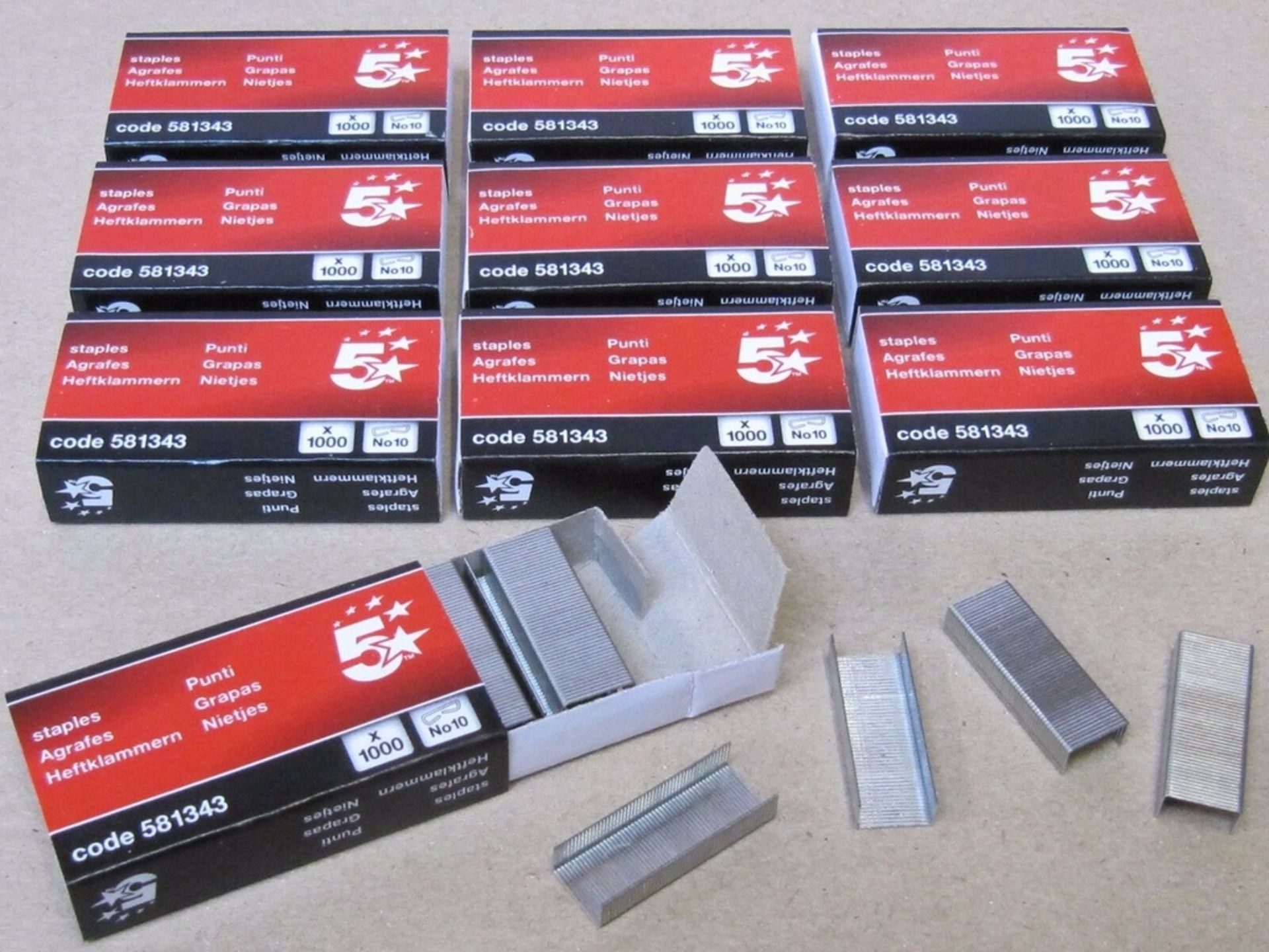 Lot 62 - 200 x Boxes Of Staples. Size No. 10