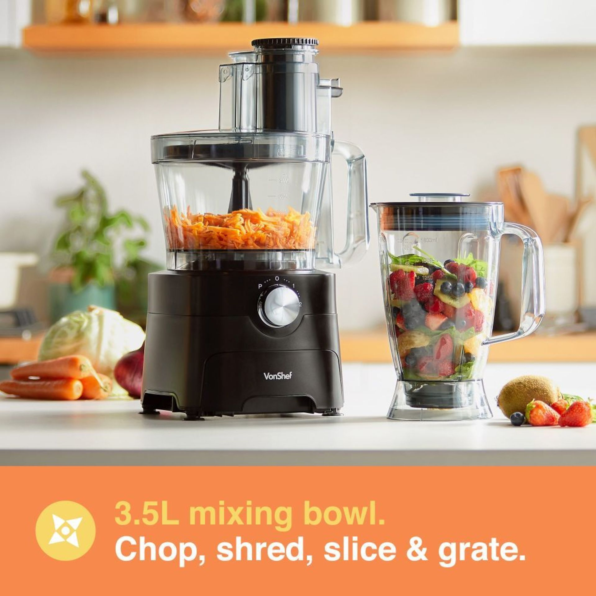 Los 55 - (KG30) 1000W Food Processor. Chop, blend, mix, purée, grate, shred and knead dough Process bi...