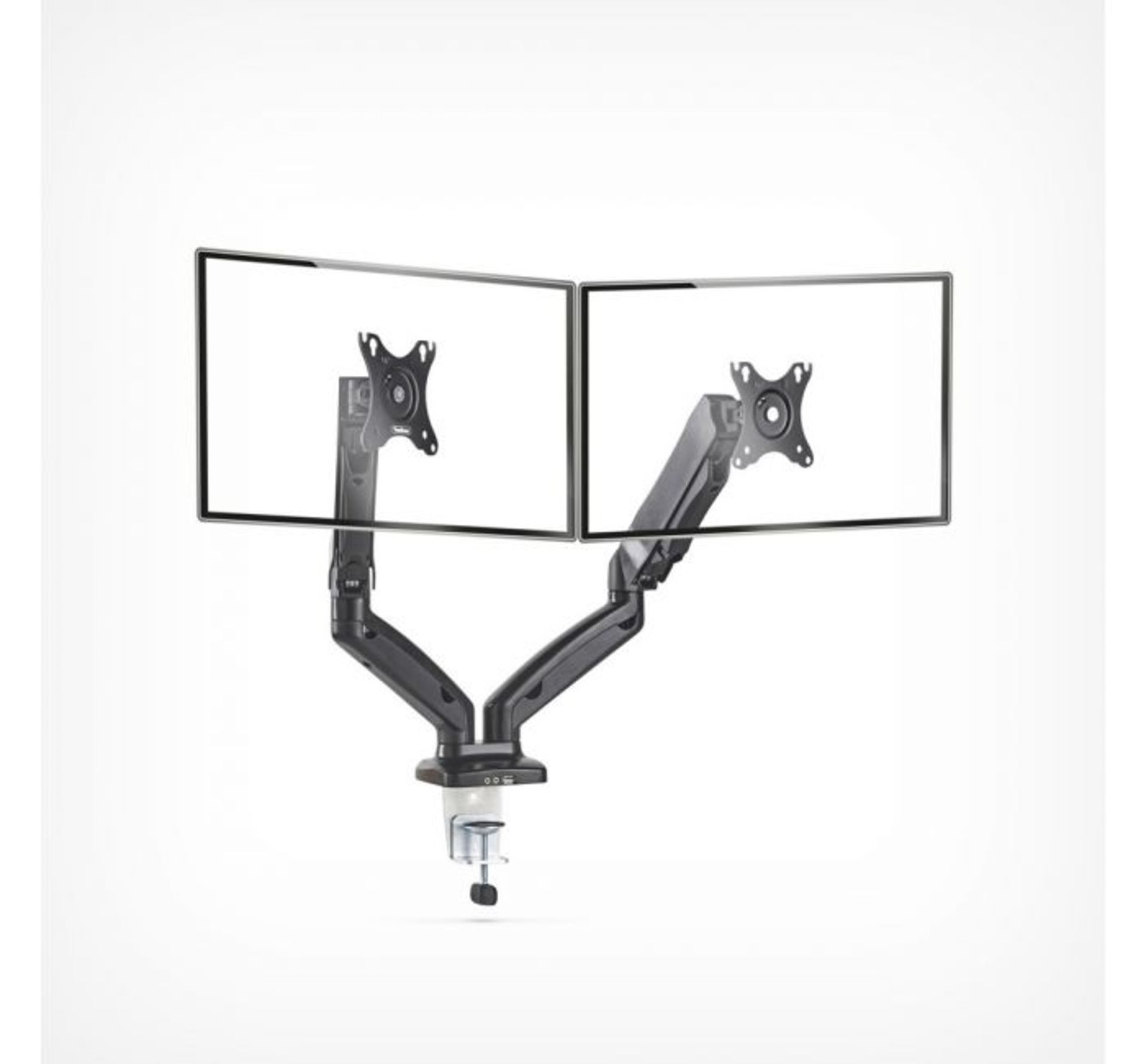 Los 102 - (K26) Dual Arm Gas Mount With Clamp Ultra-flexible double arm monitor mount with built in cabl...