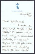 A Personal Signed Letter- by Diana Princess of Wales, H.R.H Prince W...