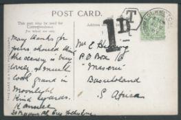 Basutoland 1907 Picture Post card sent from Folkestone to Maseru, Basutoland