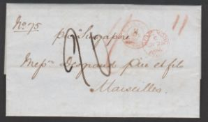"""Hong Kong/Malta 1860 Entire letter prepaid 1/- from Hong Kong to Marseille endorsed """"Per Singapore"""""""
