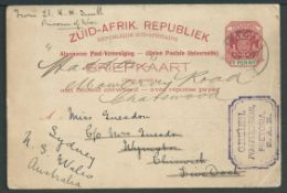 Boer War 1900 (May 3) Transvaal 1d reply card (with reply half still attached) to New South Wales