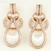 14 K Rose Gold Diamond & Mother of Pearl Earrings