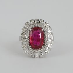 14 K / 585 White Gold Ruby (GIA Certified) & Diamond Ring