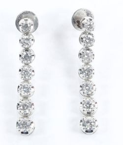 14 K White Gold Solitaire Diamond Necklace & Earrings