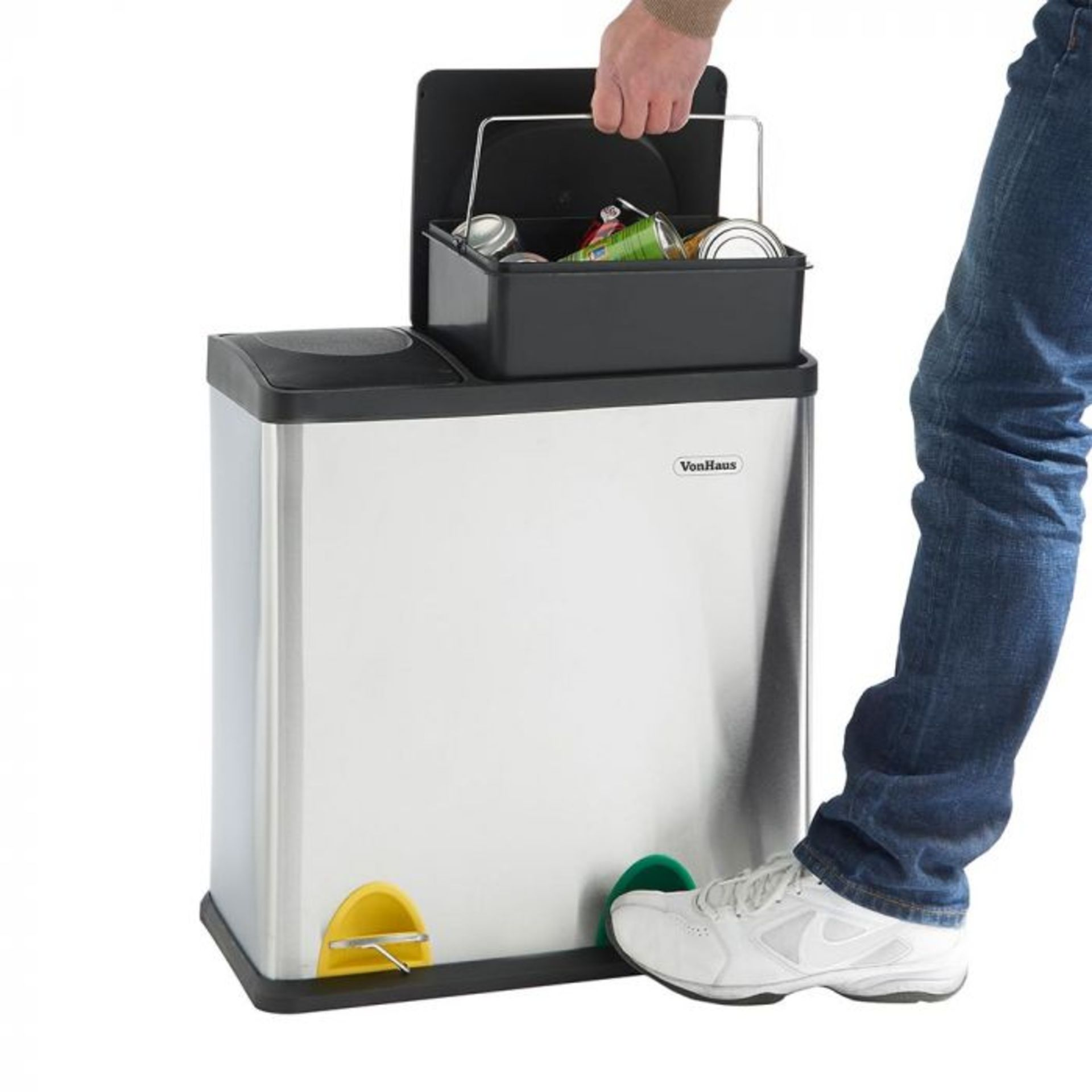 Lot 389 - (S334) 36L 2 in 1 Recycling Bin Streamline your recycling routine! Suitable for general househ...