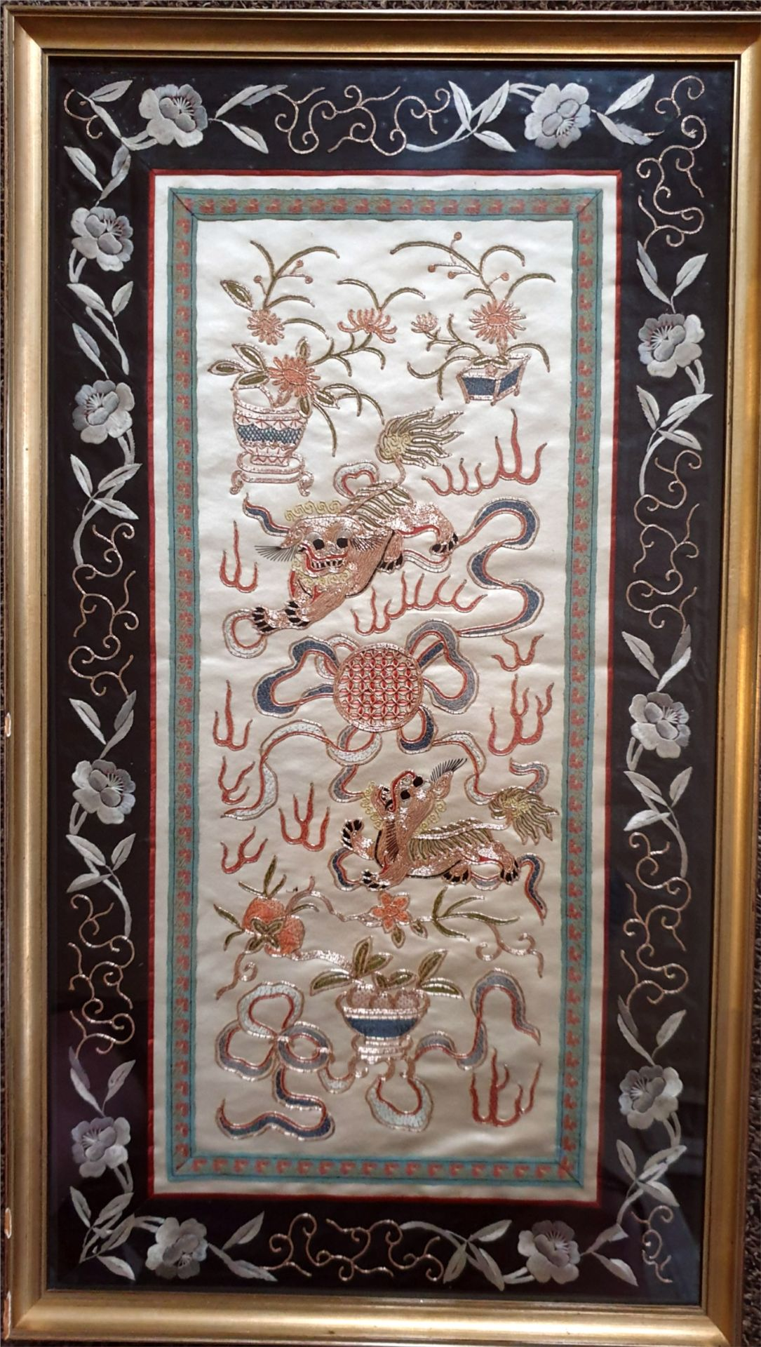 Antique Art Chinese Silk Intricately Embroidered Panel
