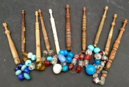 Antique Vintage 10 x Lace Bobbins With Glass Weights Includes Bone Bobbin