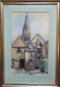Antique Art Watercolour Painting Building Scene Possibly Worcester