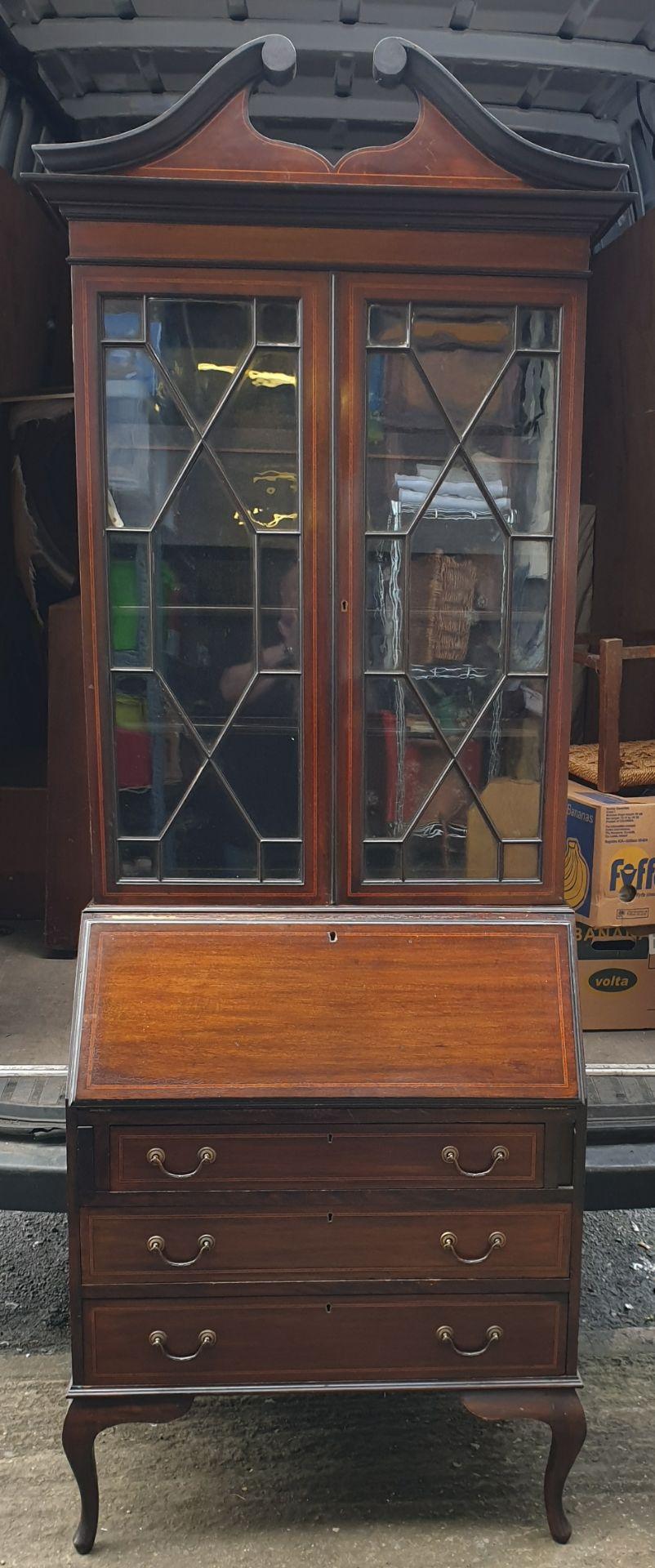 Antique Vintage Early 20th Century Georgian Style Glazed Bookcase Bureau with swan neck pediment