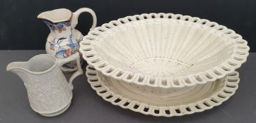 Antique Parcel of Pottery Jugs and a Fruit Basket